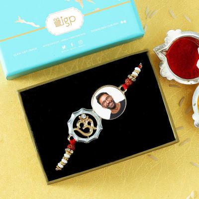 Personalized Om Photo Rakhi in Gift Box