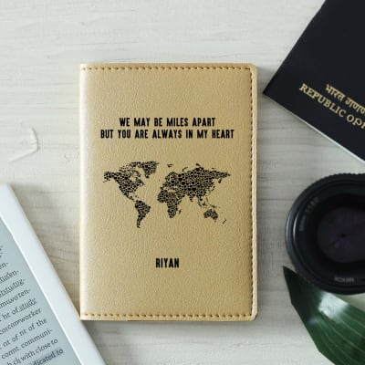 Personalized Passport Cover in Beige