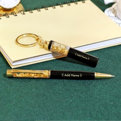 Personalized Pen and Keychain Set in Black and Gold