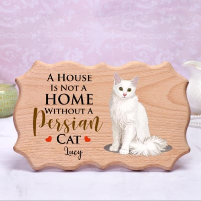 Personalized Pet Lover Wooden Photo Frame (Persian Cat)