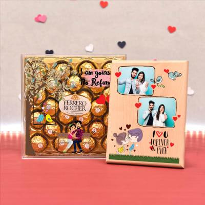 Personalized Photo Frame with Ferrero Rocher Chocolates