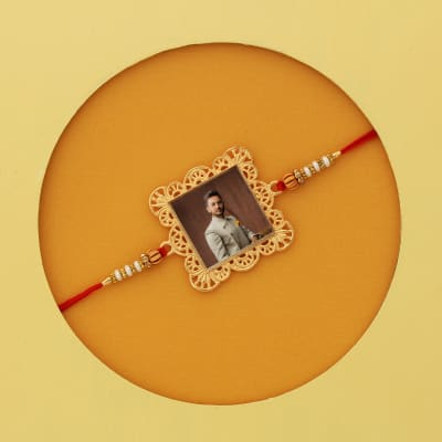 Personalized Photo Rakhi with Jali Design in Gift Box