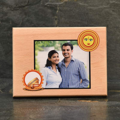 Personalized Photo Wooden Frame for Karwachauth