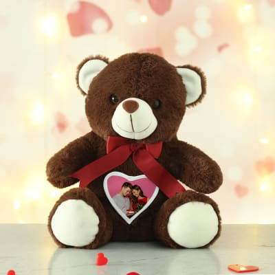 Personalized Romantic Heart Brown Teddy