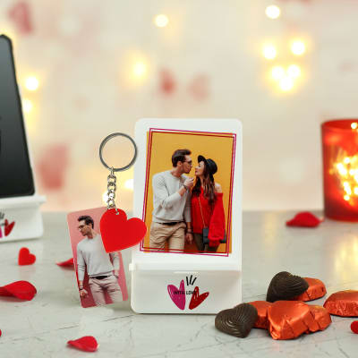 Personalized Romantic Mobile Stand with Key Chain