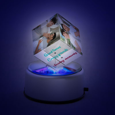 Personalized Rotating Crystal Cube for Friends - Boys