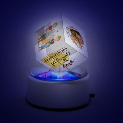 Personalized Rotating LED Crystal Cube for Grandparents