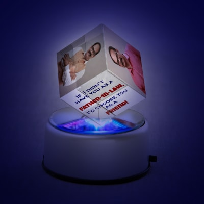 Personalized Rotating LED Cube for Father-in-law