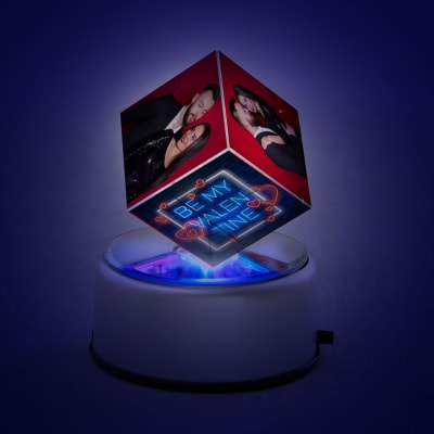 Personalized Rotating LED Cube for Valentine's Day