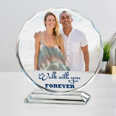 Personalized Round Crystal for Couple