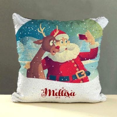 Personalized Santa Selfie Sequins Cushion