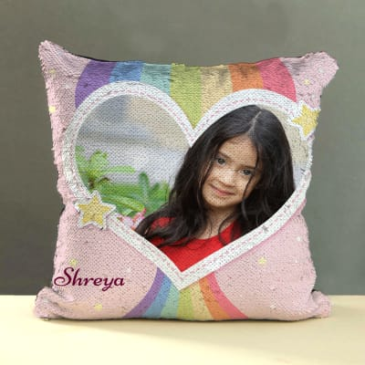 Personalized Sequin Pillow for Girls