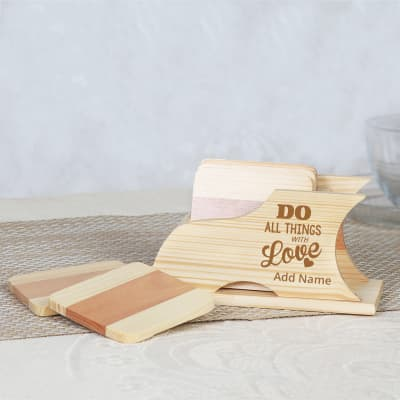 Personalized Set of 6 Wooden Coasters