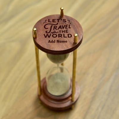 Personalized Sheesham Wood And Brass Hour Glass Sand Timer