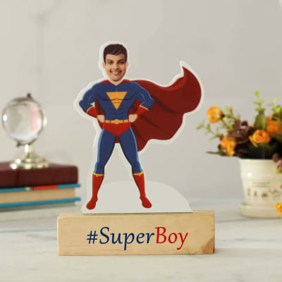 Personalized  Superboy Caricature with Wooden Stand