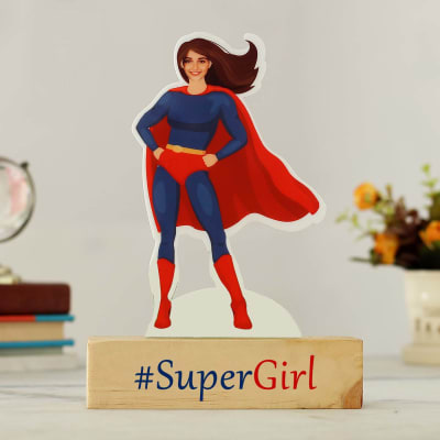 Personalized Supergirl Caricature with Wooden Stand