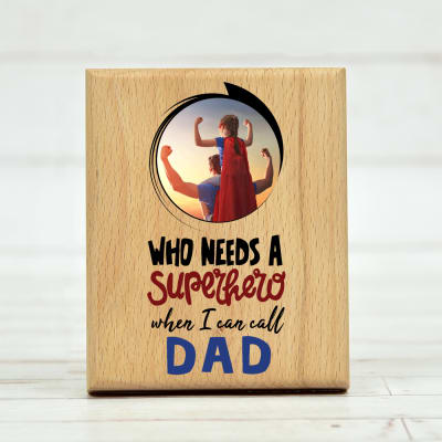 Personalized Superhero Dad Photo Frame in Wood