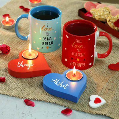 Personalized Tea Light Candles with Ceramic Mugs (Set of 2)