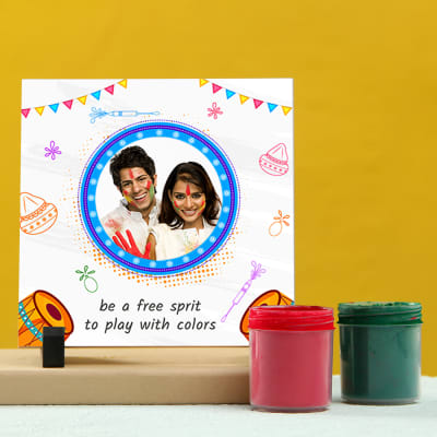Personalized Tile with Holi Colors