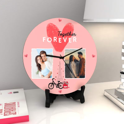Personalized Together Forever Romantic Table Clock