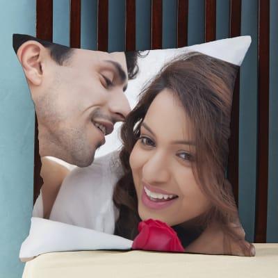 Personalized White Satin Photo Cushion