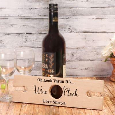 Personalized Wine O'Clock Wooden Wine Bottle Holder