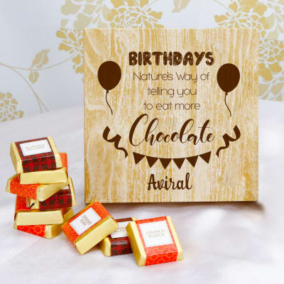 Personalized Wooden Box of Assorted Chocolates for Birthday