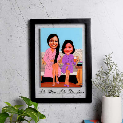 Personalized Wooden Caricature Photo Frame for Mom & Daughter