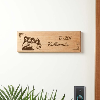 Personalized Wooden Name Plate with Family Photo