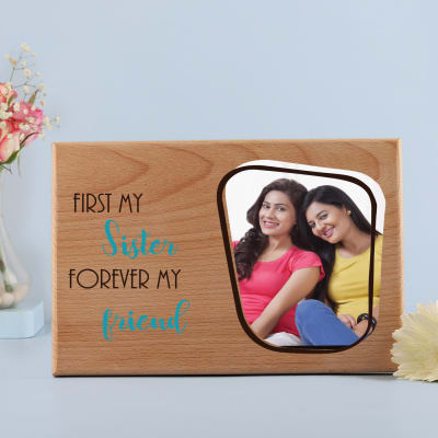 Personalized Wooden Photo Frame for Sister