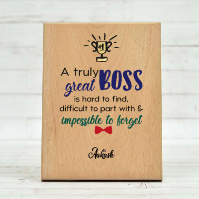 Personalized Wooden Plaque for Boss