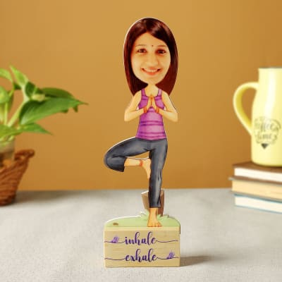 Personalized Yoga Pose Caricature with Wooden Stand