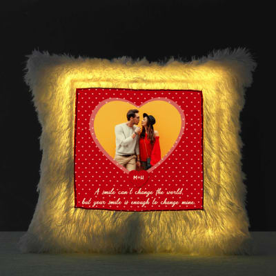 Personalized Your Smile Is Love LED Fur Cushion