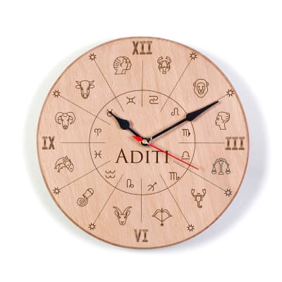 Personalized Zodiac Signs Wooden Wall Clock