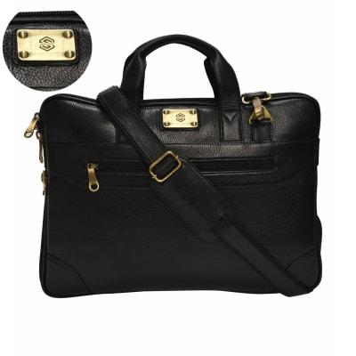 Phantom Black Sleek Christopolo Men's Laptop Bag - Customizable with Logo