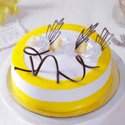 Pineapple Cake with Chocolate Art (2 Kg)