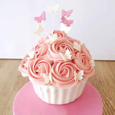 Pink 21st Birthday Giant Cupcake Semi Fondant Cake (3 Kg)