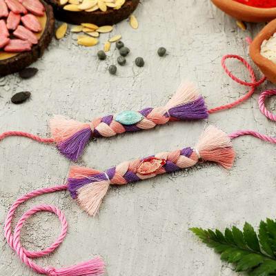 Pink And Lavender Seed Rakhi (Set of 2)