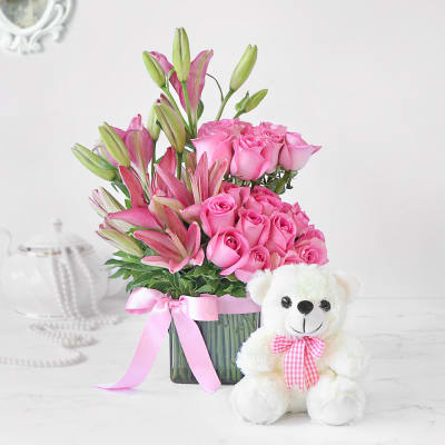 Pink Asiatic Lilies & Roses in Vase Arrangement with Teddy