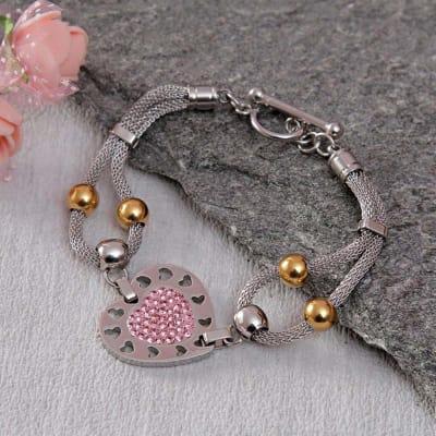 Pink CZ Stone Heart Shape Mesh Bracelet