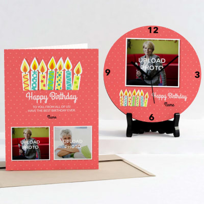 Pink Polka Dots Personalized Birthday Clock & Card combo