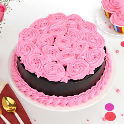 Pink Roses Chocolate Cake (Half Kg)