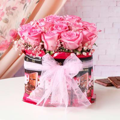 Pink Roses & Premium Chocolate Bouquet