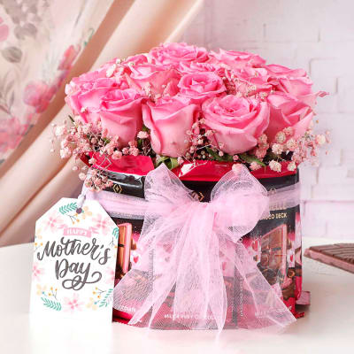 Pink Roses & Premium Chocolate Bouquet for Mom