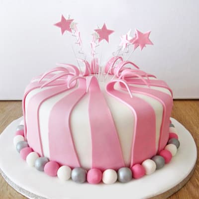 Pink & Silver Striped Fondant Cake (Eggless) (2 Kg)