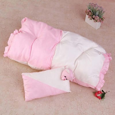 Pink Soft Bed & Cushion Set for Babies