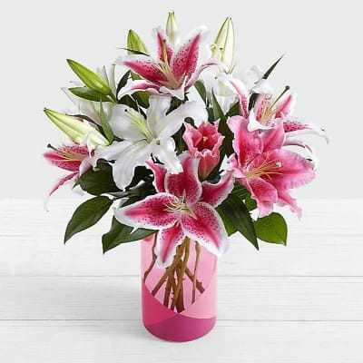 Pink & White Lily Bouquet