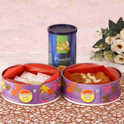 Pistachio Can with CD Box Combo of Pinni & Kaju Barfi