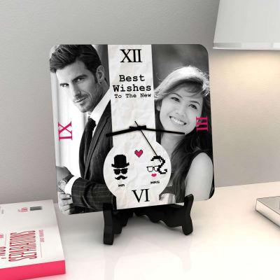 Pixelated Pair Personalized Wedding Clock