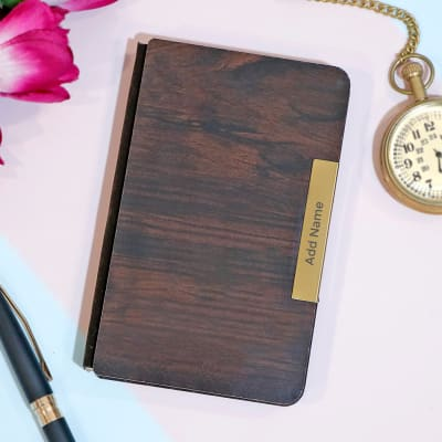 Pocket Notebook with Wooden Cover - Customize With Name